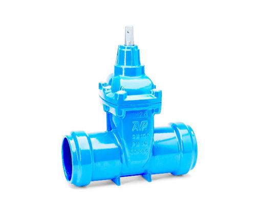 Afbeeldingen van AVK 01/80 Gietijzer Mofafsluiter PN16 50mm blauw