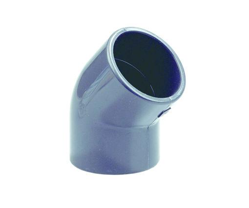 Afbeeldingen van DYKA PVC Knie PN16 160mm 2x lijmmof 45° grijs