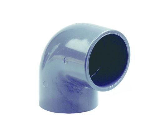 Afbeeldingen van DYKA PVC Knie PN16 160mm 2x lijmmof 90° grijs