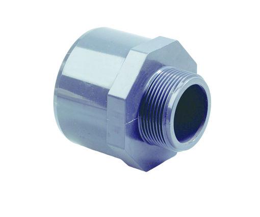 """Afbeeldingen van DYKA PVC Verloop PN16 25- 20mm x 1/2"""" lijmmof-spie/ buitendraad grijs"""