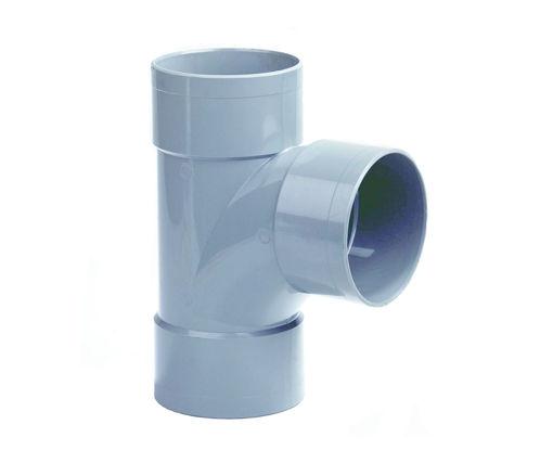 Afbeeldingen van DYKA PVC Stroom T-stuk 110mm 3x lijmmof 90° grijs